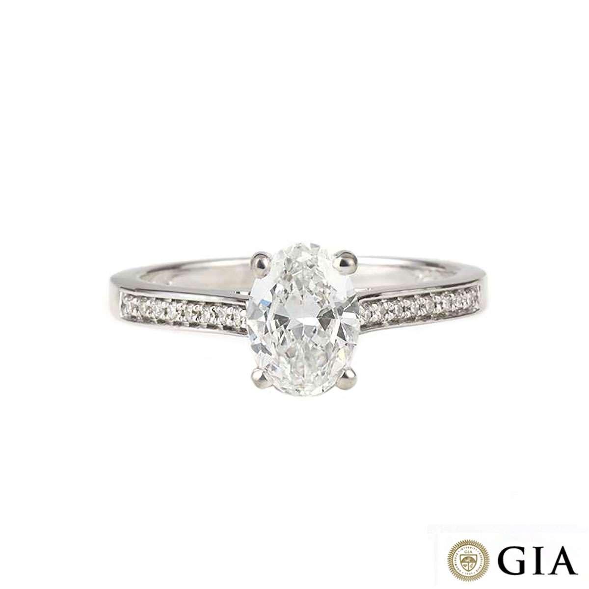 White Gold Oval Diamond Ring 1.03ct G/VS2
